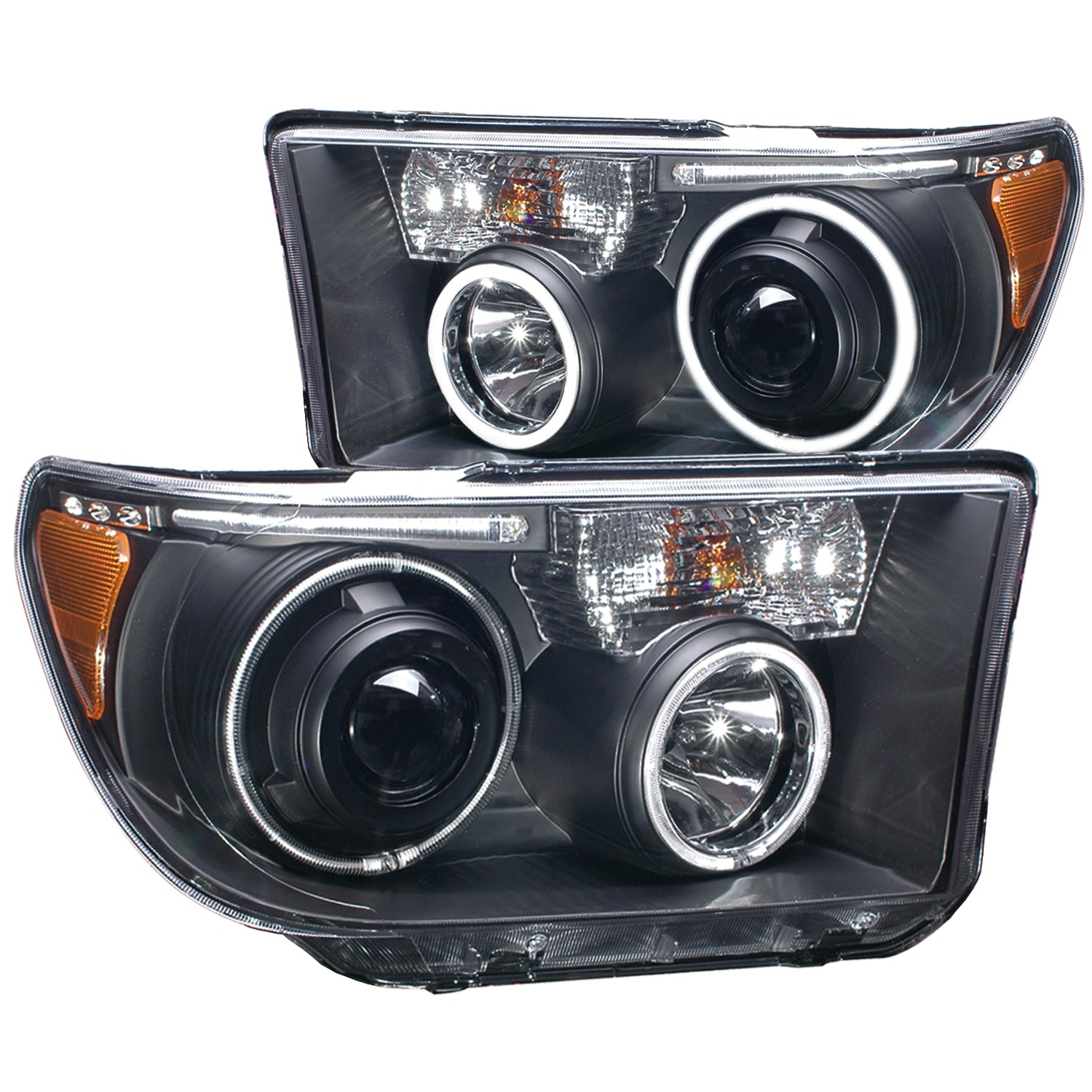Anzo Projector Headlights Halo w/ LED Bar Black