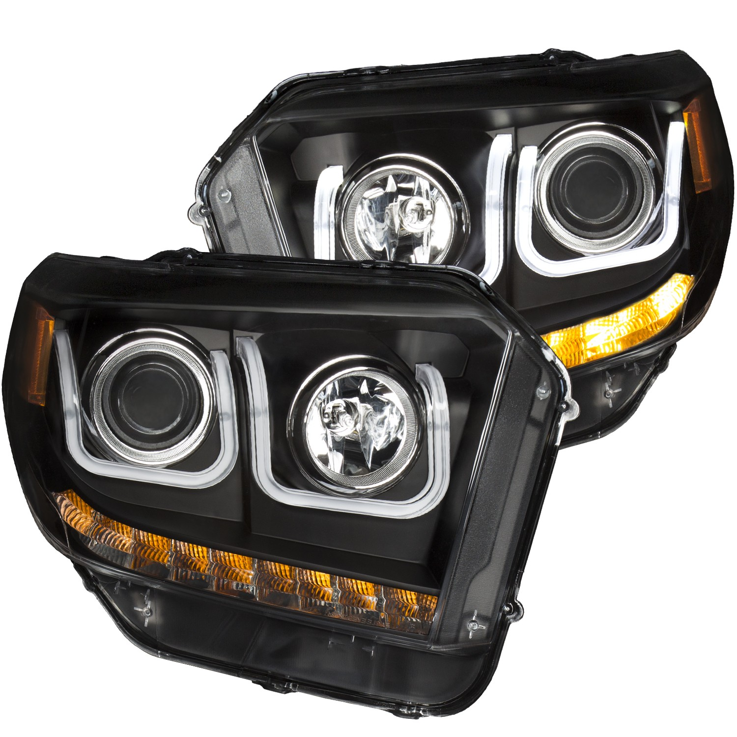 Anzo Projector Headlights U-Bar Black Clear w/ Halogen DRL's - 14-18