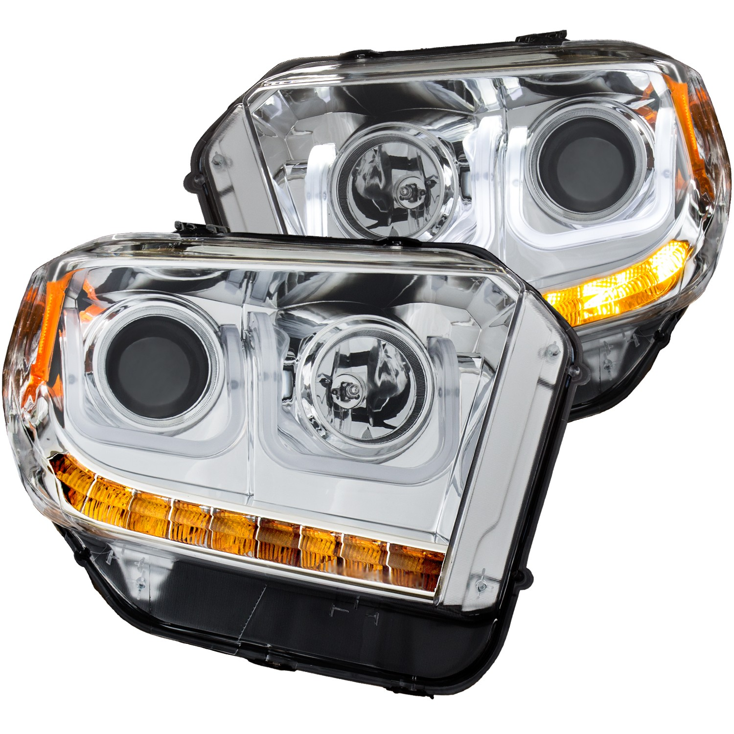 Anzo Projector Headlights U-Bar Chrome Clear w/ Halogen DRL - 14-18