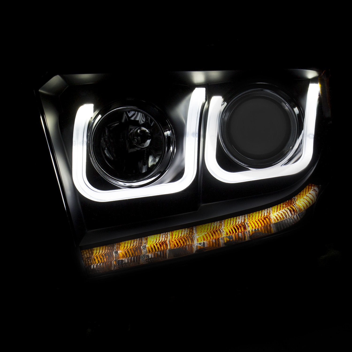 Anzo Projector Headlights U-Bar Black Clear w/ LED DRL's - 14-18