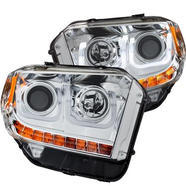 Anzo Projector Headlights U-Bar Chrome Clear w/ LED DRL's - 14-18