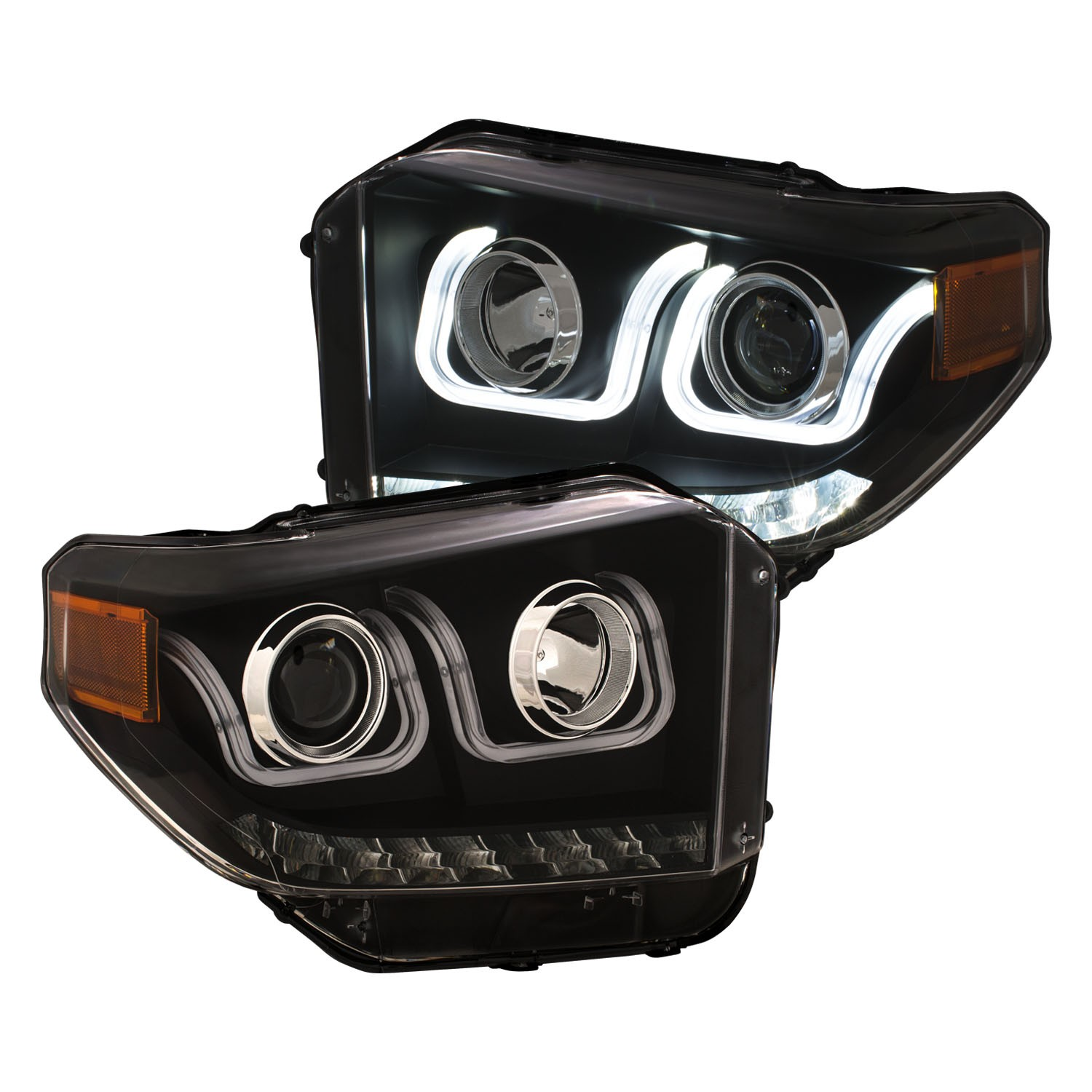 Anzo Projector Headlights Switchback U-Bar Black w/ LED DRL's - 14+