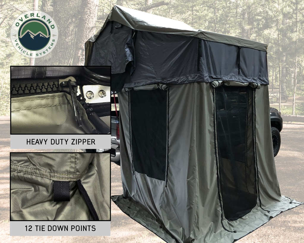 Overland Vehicle Systems Roof Top Tent 2 Person Extended Roof Top Tent With Annex Green/Gray Nomadic