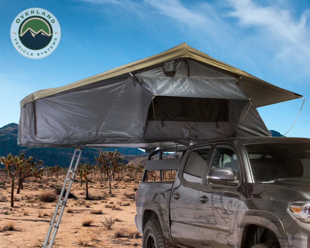 Overland Vehicle Systems Roof Top Tent 3 Person Extended Roof Top Tent Dark Gray Base With Green Rain Fly With Bonus Pack Nomadic