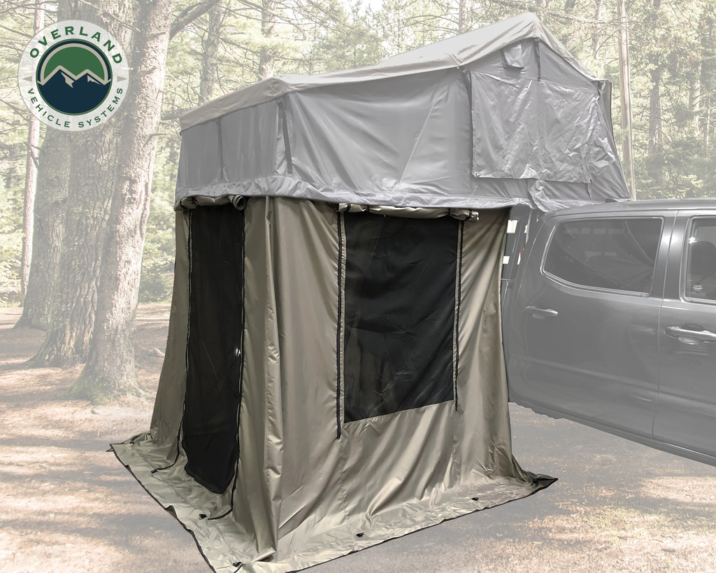Overland Vehicle Systems Roof Top Tent 4 Annex 100x80X82 Inch Green Base Black Floor and Travel Cover Nomadic