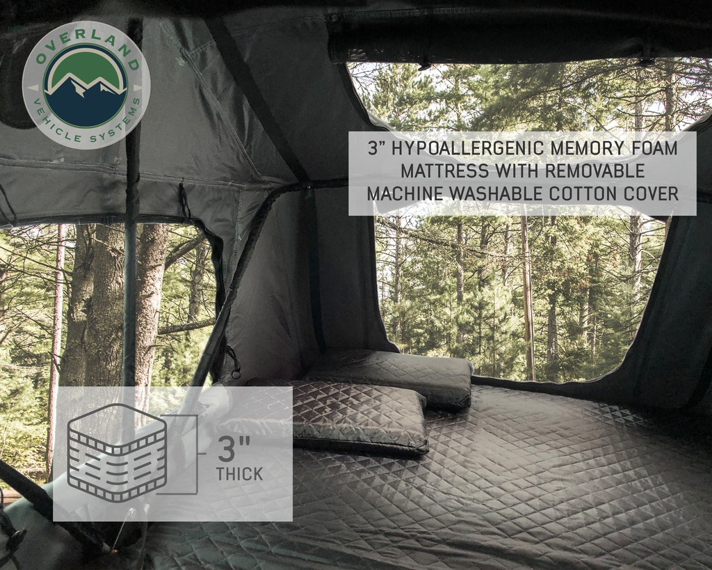 Overland Vehicle Systems Roof Top Tent 4 Person Extended Roof Top Tent Dark Gray Base With Green Rain Fly With Bonus Pack Nomadic