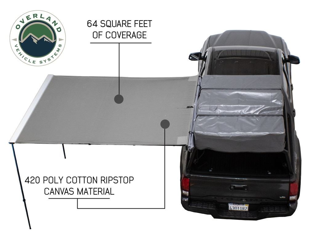 Overland Vehicle Systems Awning 2.5-8.0 Foot With Black Cover Universal Nomadic