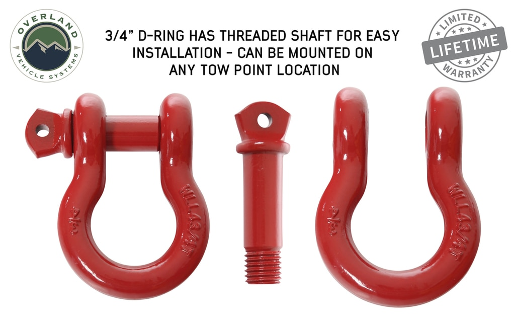 Overland Vehicle Systems Recovery Shackle 3/4 Inch 4.75 Ton Steel Gloss Red