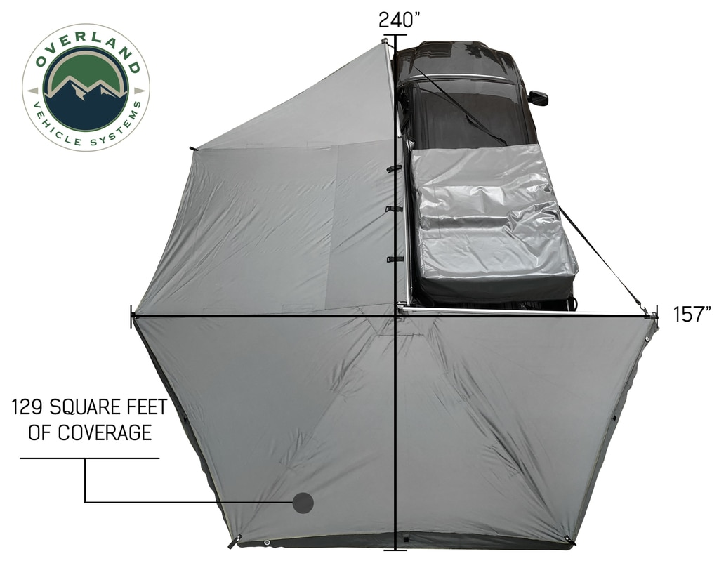 Overland Vehicle Systems Awning Tent 270 Degree Driver Side Dark Gray Cover With Black Cover Nomadic