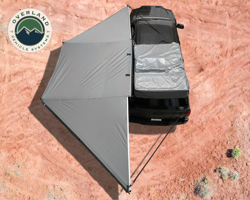 Overland Vehicle Systems Awning Tent 270 Degree Passenger Side Dark Gray Cover With Black Cover Nomadic