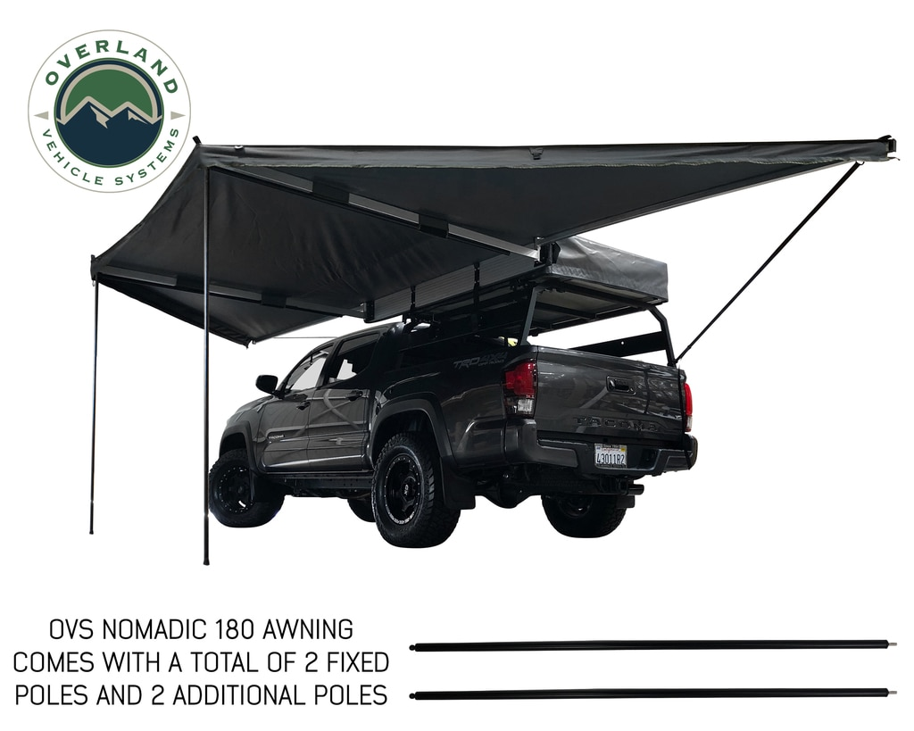 Overland Vehicle Systems Awning Tent 180 Degree 88 SF of Shelter With Zip In Wall Nomadic
