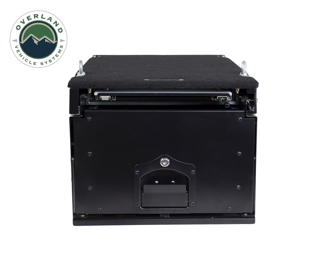 Overland Vehicle Systems Cargo Box With Slide Out Drawer & Working Station Size Black Powder Coat Universal