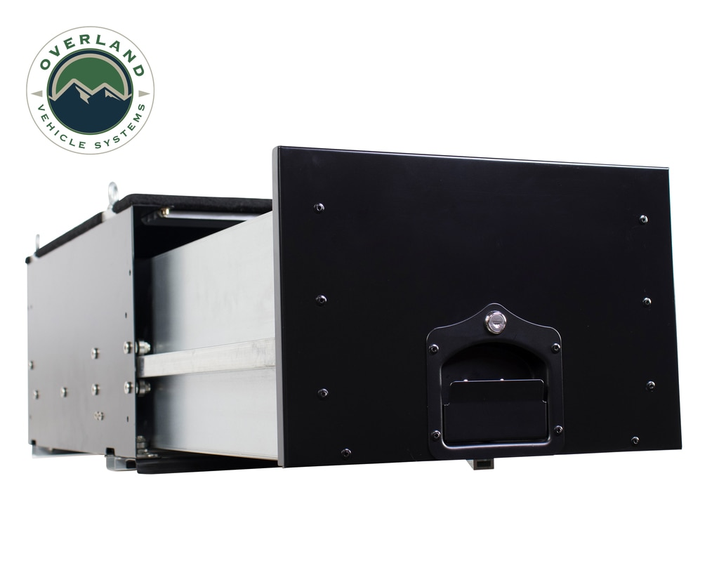 Overland Vehicle Systems Cargo Box With Slide Out Drawer Size Black Powder Coat Universal