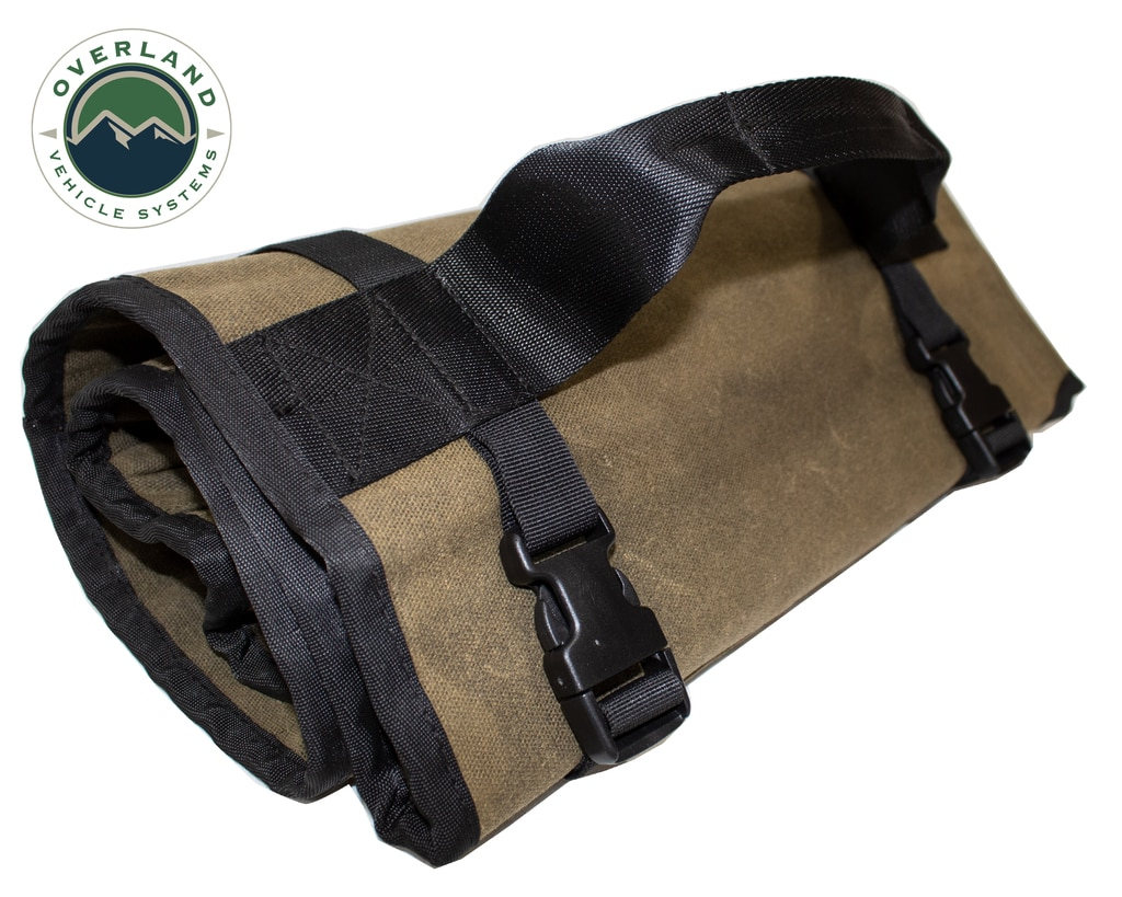 Overland Vehicle Systems Rolled Bag General Tools With Handle And Straps Brown 16 LB Waxed Canvas Canyon Bag Universal