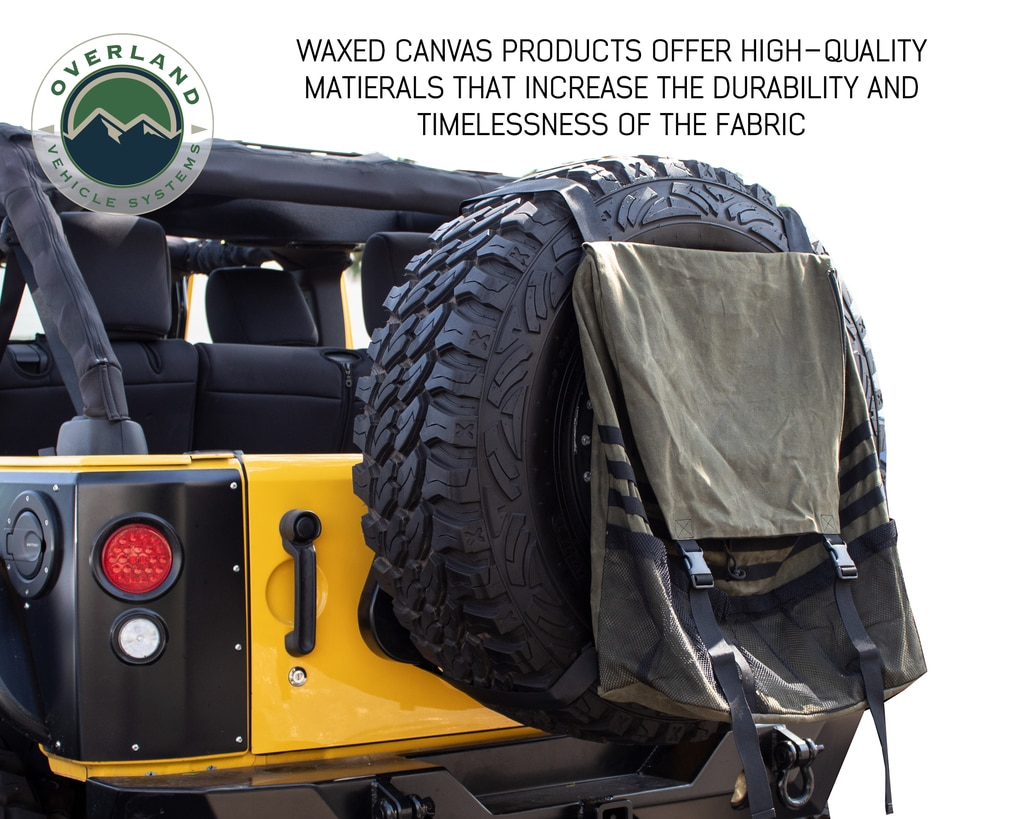 Overland Vehicle Systems Extra Large Trash Bag Tire Mount 16 LB Waxed Canvas Universal