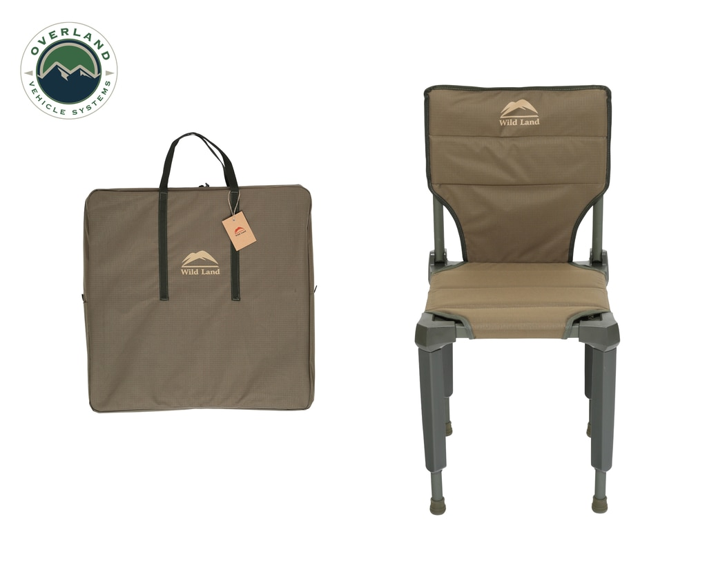 Overland Vehicle Systems Camping Chair Tan with Storage Bag Wild Land