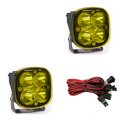 LED Light Pods Amber Lens Work/Scene Pattern Pair Squadron Pro Series Baja Designs