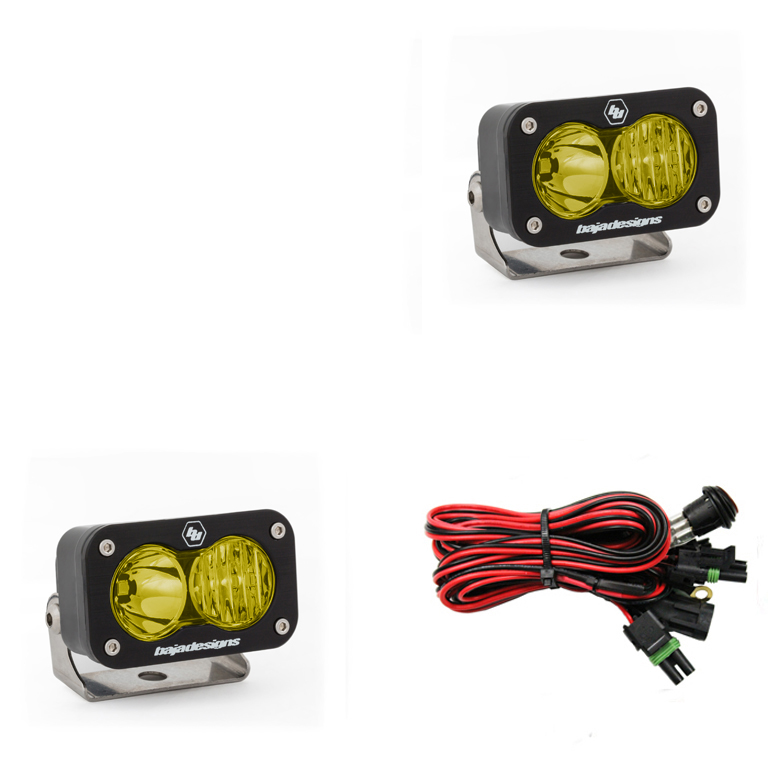 LED Work Light Amber Lens Driving Combo Pattern Pair S2 Sport Baja Designs