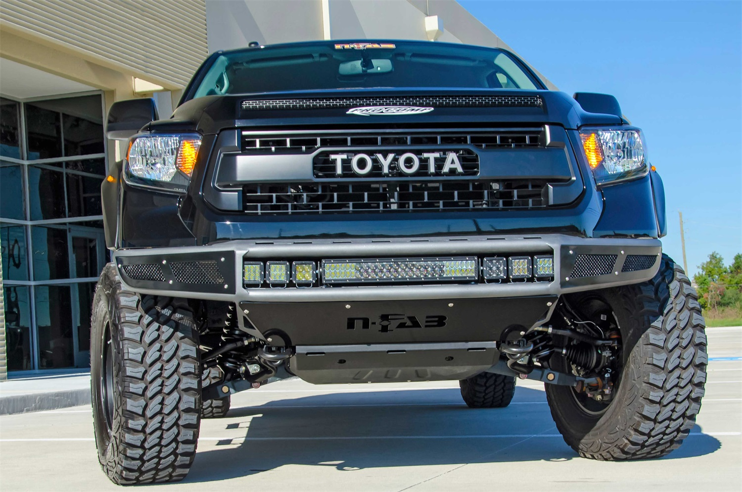 N-Fab 2014-2019 Toyota Tundra M-RDS Radius Pre-Runner Front Bumper W/ Multi-Mount - TEXTURED BLACK