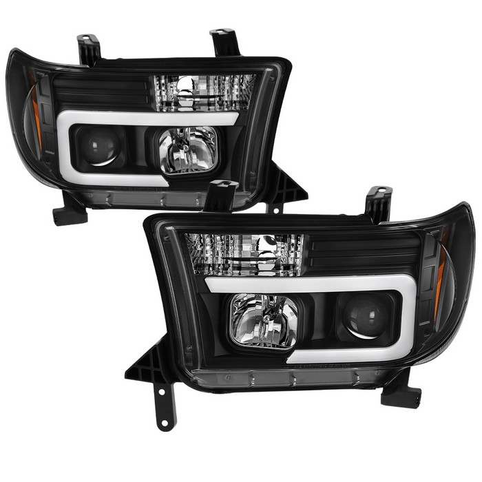 SpyderAuto Version 2 Projector Headlights - Light Bar DRL - Black 07-13 Tundra