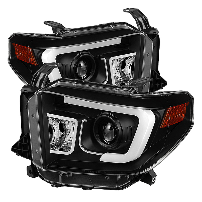 Toyota tundra spyder auto headlight 5080158 spyder auto 2014 2017 projector headlights light bar drl black Wiring 12V LED Lights at fashall.co
