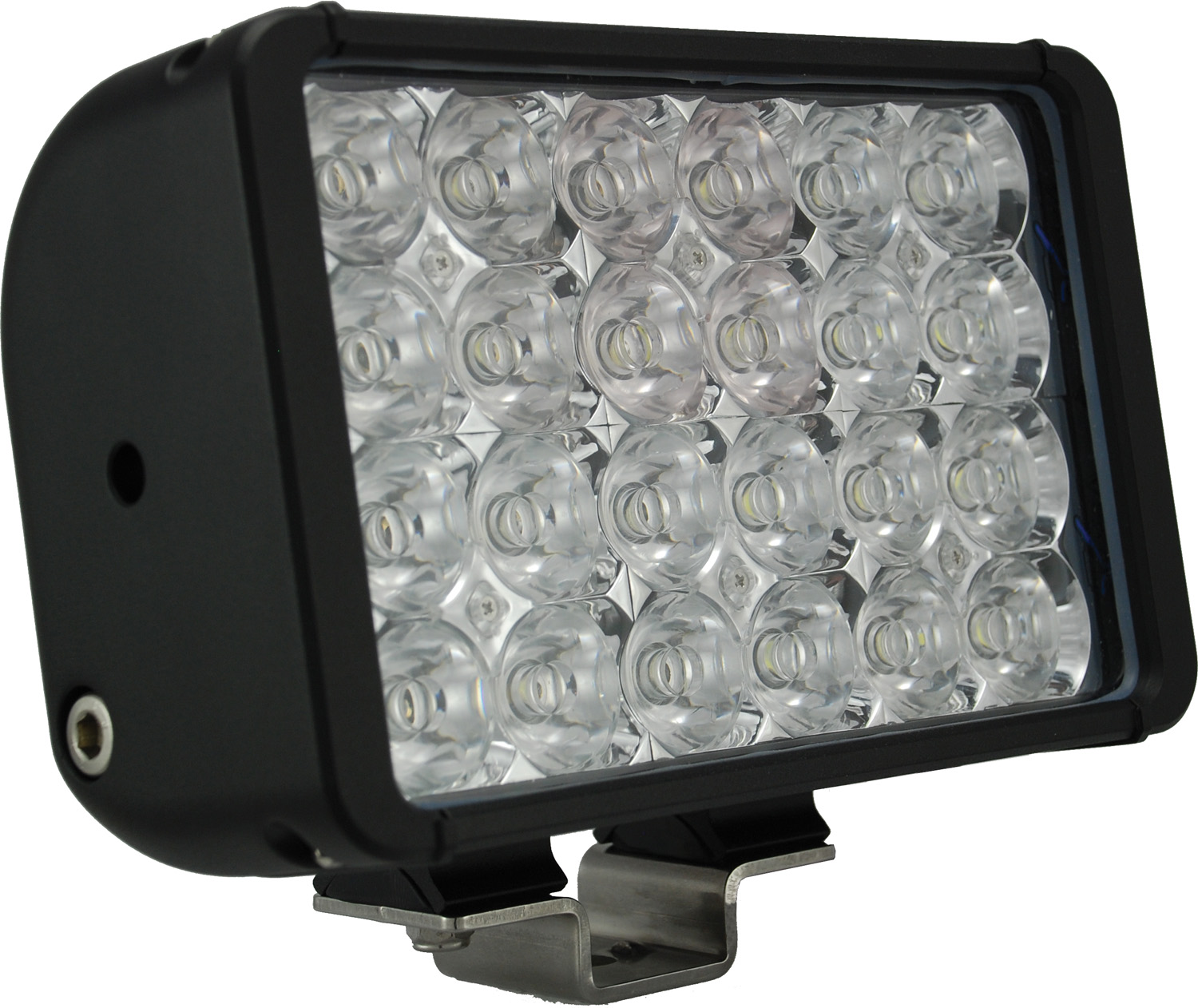 "8"" XMITTER DOUBLE BAR BLACK 24 3W LED'S FLOOD"