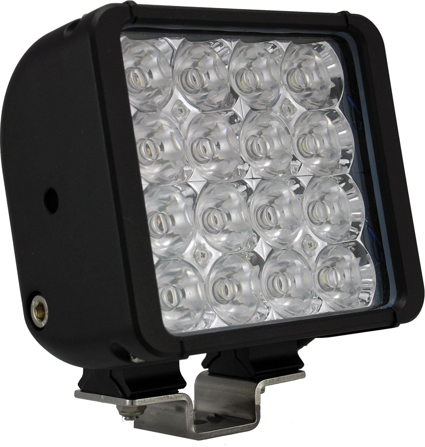 "6"" XMITTER DOUBLE BAR BLACK 16 3W LED'S FLOOD"