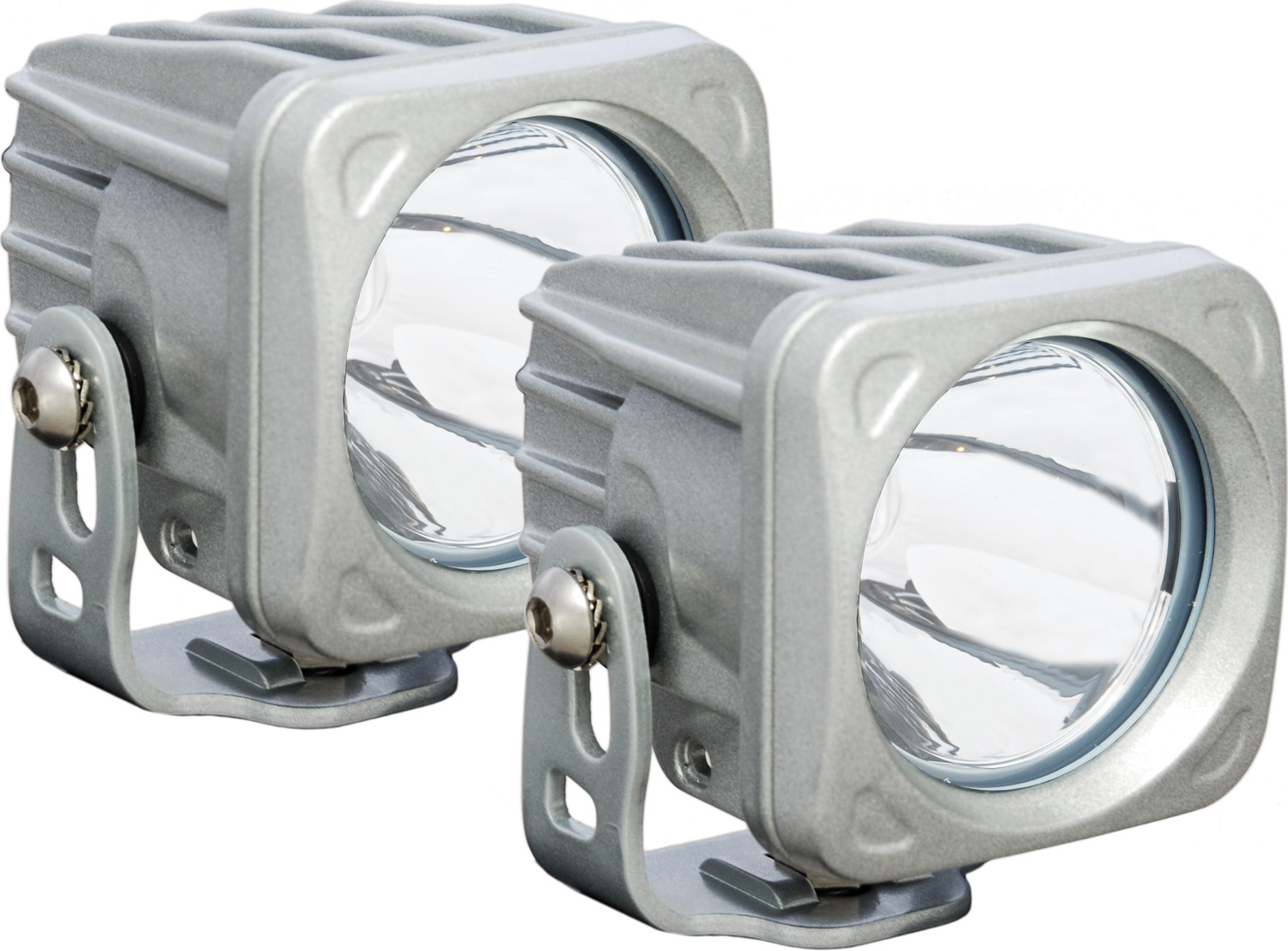OPTIMUS SQUARE SILVER 1 10W LED 10° NARROW KIT OF 2 LIGHTS