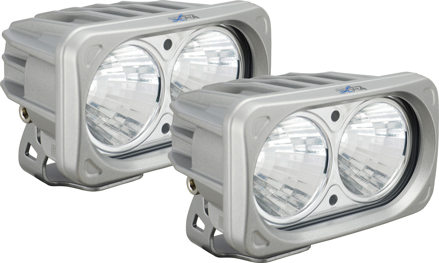OPTIMUS SQUARE SILVER 2 10W LEDS 20° MEDIUM KIT OF 2 LIGHTS
