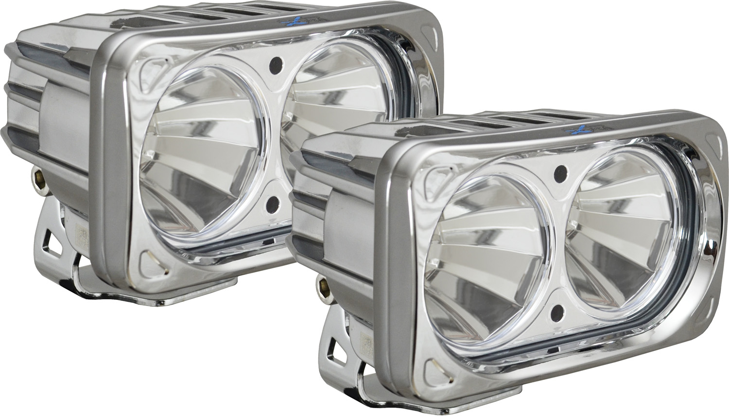 OPTIMUS SQUARE CHROME 2 10W LEDS 60° FLOOD KIT OF 2 LIGHTS
