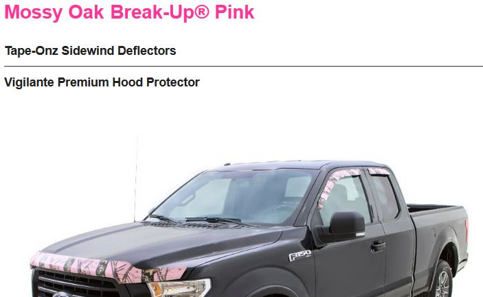 Mossy Oak Break Up Pink Tundra Crew Max Window Deflector Vigilante Premium Camo 2007+
