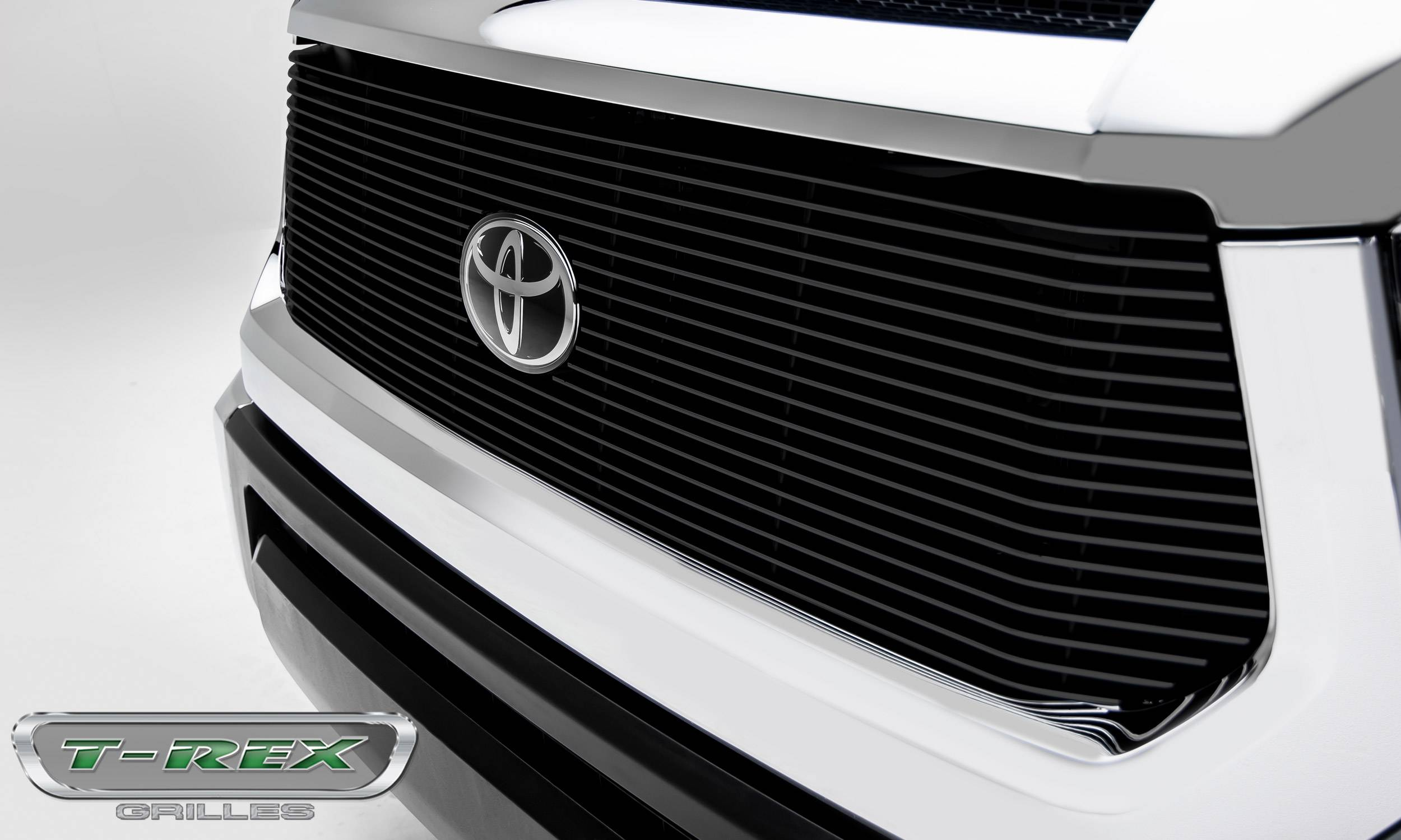 T-Rex Tundra Billet Grille, Main Replacement w/OE Logo Provision, 1 Pc, Black Powdercoated Aluminum Bars 2018+