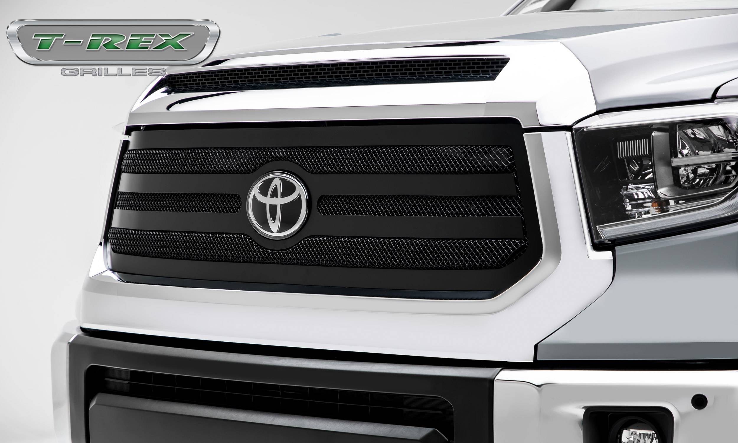 T-Rex Tundra Upper Class Grille - Main Replacement w/OE Logo Provision, 1-pc, Black pc framed wire mesh 2018+