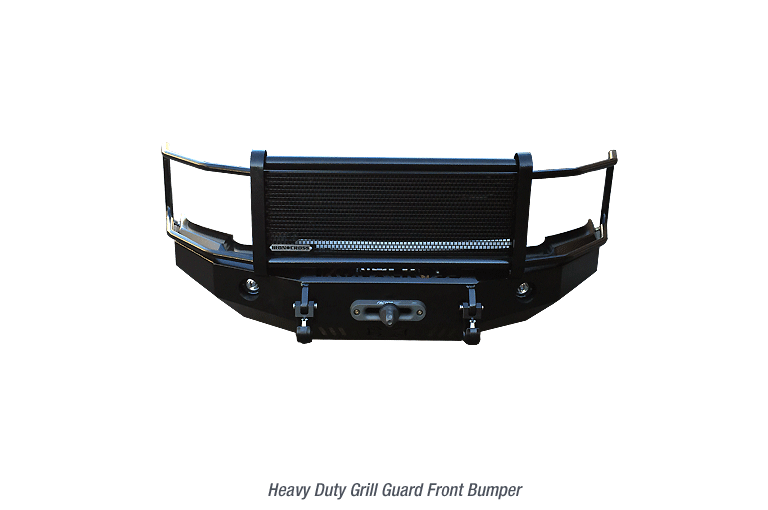 Iron Cross Heavy Duty Grill Front Base w/Winch & D-Ring Mount, Foglight Cutouts Black Steel -2014+